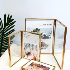 folded double sided glass metal photo frame botanical specimen holder electroplated gold picture