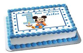 Baby Mickey Mouse 1st Birthday Edible Cake Topper Cupcake Toppers