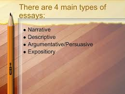 different types of writing the essay engc what is an essay an  4 there are 4 main types of essays narrative descriptive argumentative persuasive expositiory
