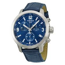 tissot prc 200 chronograph blue dial blue leather mens watch zoom
