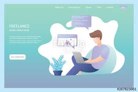 Office Banner Template Freelancer At Home Or Office Comfortable Workplace Freelance