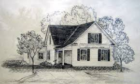 this drawing by c phelms is on loan to the garden city historical museum