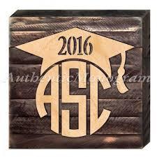 custom three letter circle script monogram graduation 2016 celebration on distressed wooden board