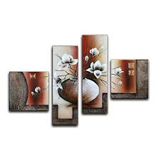 contemporary dining room wall decor. Wieco Art Large Size Decorative Elegant Flowers 4 Panels 100% Hand-painted Modern Contemporary Artwork Floral Oil Paintings On Canvas Wall For Home Dining Room Decor O