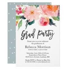Graduation Party Announcement Modern Watercolor Floral Graduation Party Card Ladyprints