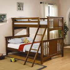 furniture dark brown wooden bunk bed with ladder and soft grey bedding set on brown