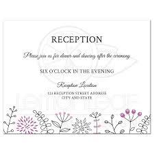 wedding reception card modern wedding reception card with purple flower and nature border