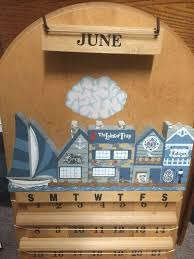 perpetual wooden wall calendar hand painted with wooden tile 1832660465