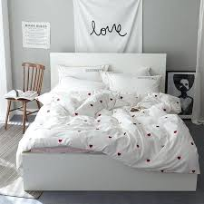 pink heart cute white bedding set cotton twin queen king size bed sheet linen duvet cover set pillowcase soft bedclothes california king bed sets target