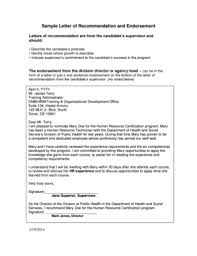 Fillable Online Sample Letter Of Recommendation And Endorsement