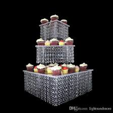 3 tier set 15 7 11 8 7 87 square shape crystal effect acrylic cake stand for wedding event party decoration metal cake stand crystal chandelier cake stand