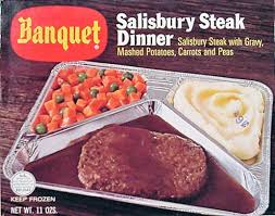 tv dinners. does everybody eat their tv dinners on woodgrain or what? d