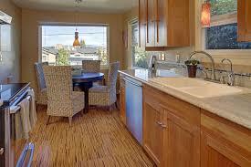 cork kitchen flooring. Cork Plank Flooring With Bamboo Look In Kitchen 5 Piece Dining Set Black