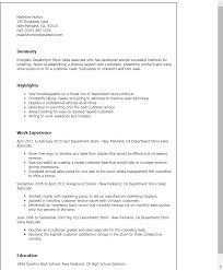 Resume Templates: Department Store Sales Associate