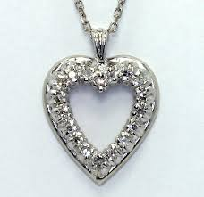 details about diamond heart pendant necklace 14k white gold 18 g vs rounds 25ct cable chain