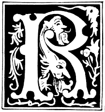decorative initial letter r from 16th century