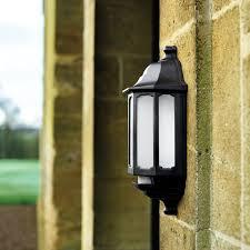 asd led half lantern outdoor wall light with pir sensor black
