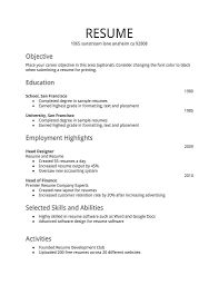 Resume Template Microsoft Word First Time Job Resume Templates Bino