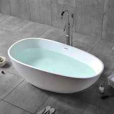 stone resin oval freestanding soaking tub center drain overflow matte white