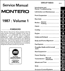 1987 mitsubishi montero repair shop manual set original covers all 1987 mitsubishi montero models these books measure 8 5 x 11 and are 1 63 thick together buy now to own the best manual