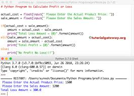 Python Program To Calculate Profit Or Loss