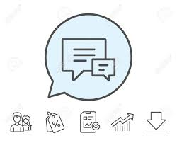 Stroke Communication Chart Chat Line Icon Speech Bubble Sign Communication Or Comment