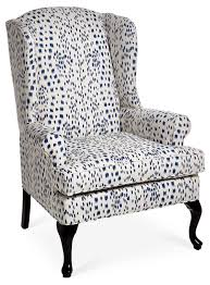 white wingback chair. The Classic Wingback Chair Gets A Modern Update With Contemporary White-and-midnight-blue Upholstery. Hardwood Frame Is Double-doweled And White O
