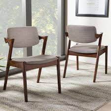 elegant gray fabric upholstered dining chairs set of 2