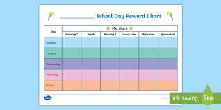 Gold Star Sticker Chart School Day Reward Chart School Day Reward Chart Star