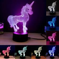 Unicorn 3d Decorative Led Lamp Treasure Fan