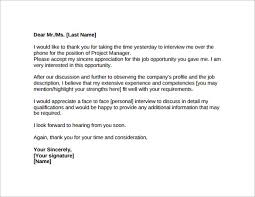 Thank You Note For A Phone Interview 19 Sample Thank You Letters After Job Interview Pdf Word