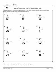 Reduce the Fraction Worksheets, 6th grade mathReduce the Fractions - D.Russell