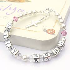 two name christening bracelet with swarovski crystals