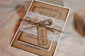Burlap And Lace Wedding Invitations Rustic Wedding Invitation Set Lace And Kraft Rustic Wedding Invite