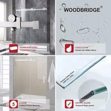woodbridge deluxe frameless sliding shower door clear tempered glass brushed nickel stainless steel finish 60 x 76 wxh msdf6076 b