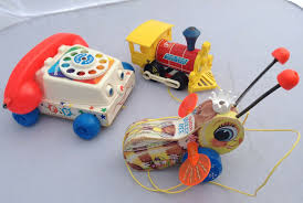 details about fisher vintage wooden pull toys buzzy bee train telephone