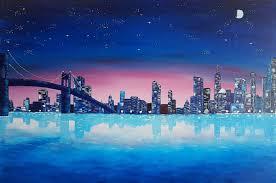 big city lights painting 60x90x1 5 cm 2017 by olga mihailicenko