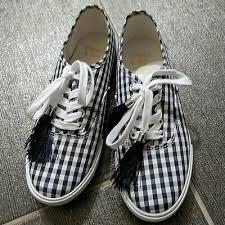 Women's Crown & Ivy Riley Navy Gingham Plaid Check Canvas Sneakers Tassels  6 | eBay