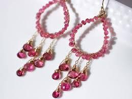 the summer rain earrings rubellite pink tourmaline chandelier earrings in gold filled wire wrapped hoop gemstone earrings