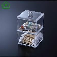 1Pcs Single/Double Layer Clear Acrylic Cotton Swab Organizer Q-tip Storage  Box Cosmetic