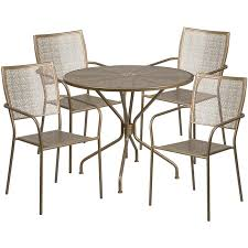 round gold indoor outdoor steel patio table set with 4 square back chairs and umbrella hole