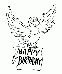 Happy Birthday Funny Dragon Coloring Page For Kids Holiday Coloring