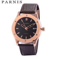 <b>41mm Parnis Watch Mens</b> Brand Gold Mechanical <b>Watches</b> ...