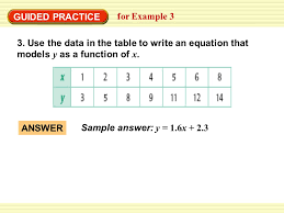 guided practice for example 3 3 use the data in the table to write