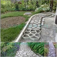 lyine diy plastic concrete stepping stone patio stamping decorative inside stone walkway mold