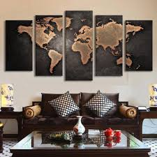 Paintings In Living Room 5 Pcs Modern Abstract Wall Art Painting World Map Canvas Painting
