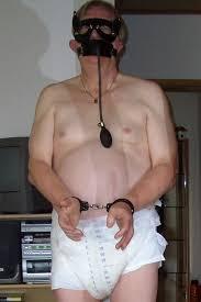 Adult diapered male bondage