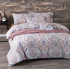 UFO Home 3pc 100% Cotton Sateen Duvet Cover Set, Inside Ties ... & UFO Home 3pc 100% Cotton Sateen Duvet Cover Set, Inside Ties, Button Close,  Great Quality Bedding, Beautiful Paisley Printing Pattern, 350 Thread Count  ... Adamdwight.com