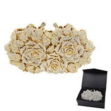 Gold <b>Silver Evening Bag</b> Rose Flower Holiday <b>Party Clutch Purse</b> ...