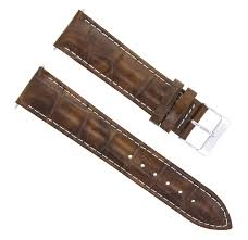 details about 19mm leather watch band strap for seiko light brown white stitching